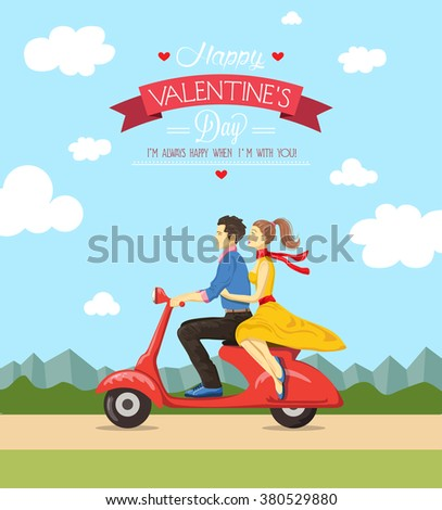 Valentine's day greeting card.Vector illustration - stock vector