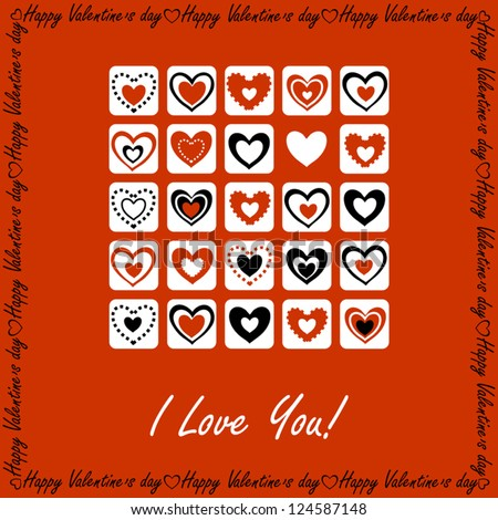 Valentine's Day Greeting Card with Bricks of Hearts on Red Background, Vector Version - stock vector