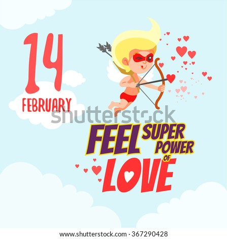 Valentine's day greeting card with cartoon cupid as superhero flying in the sky. Vector illustration - stock vector
