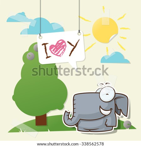 Valentine�´s day greeting card with cartoon elephant character.