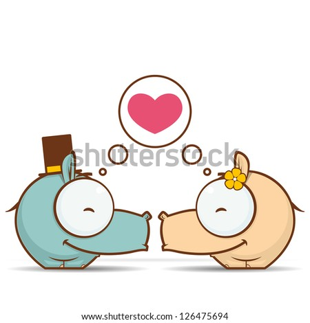 Valentine�´s day greeting card with cartoon hippo characters. - stock vector