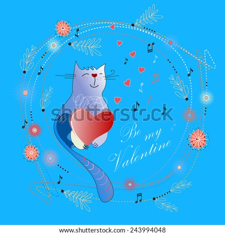 Valentine's Day. Greeting card with cute cats. EPS10 vector file organized in layers for easy editing.  - stock vector