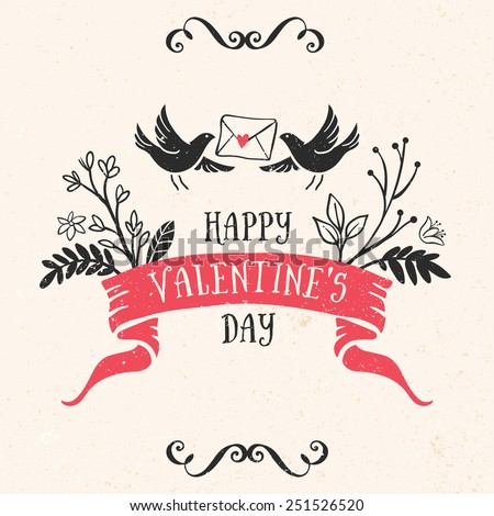 Valentine's day greeting card with lettering, ribbon, birds and other decorative elements. Vector hand drawn illustration. - stock vector