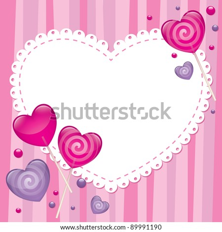 valentine's day greeting card with lollipops, vector - stock vector