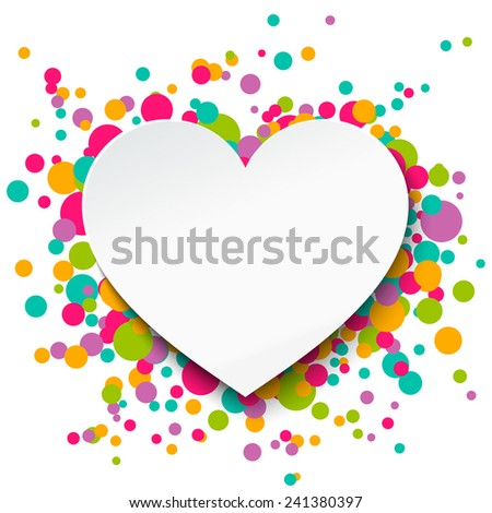 Valentine's day greeting card with paper heart. Vector illustration.