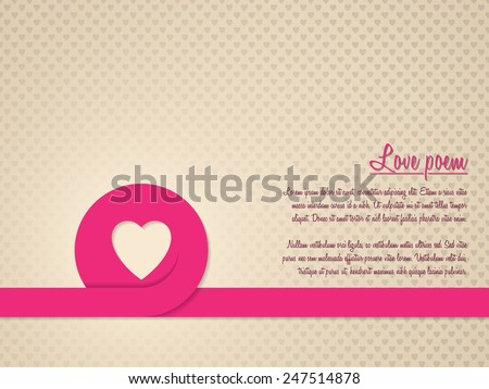 Valentine's day greeting card with red heart ribbon and heart patterned background - stock vector