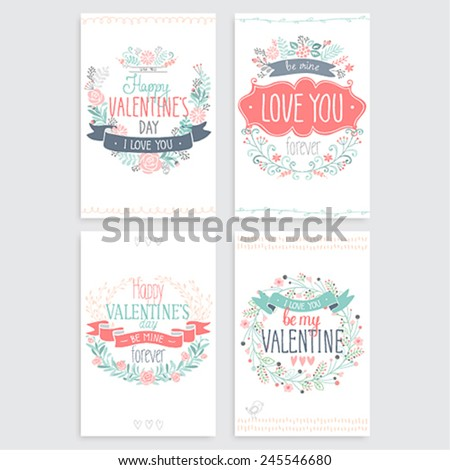 Valentine`s Day hand drawn card set. Vector illustration. - stock vector