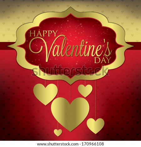 Valentine's Day hanging heart card in vector format. - stock vector