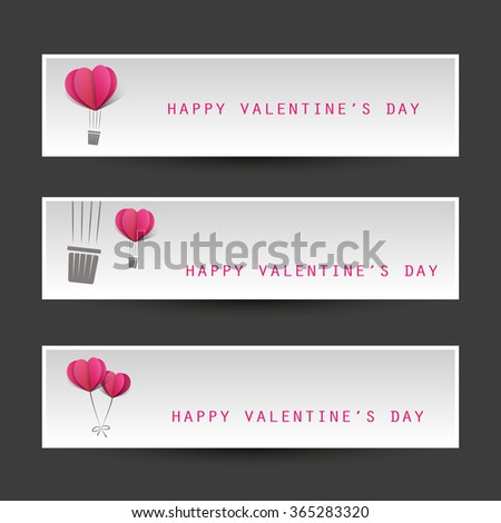 Valentine's Day Header Or Banner Design Templates With Heart Shape Balloons - stock vector