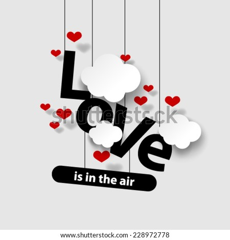 Valentine's Day Heart and Love Background - stock vector