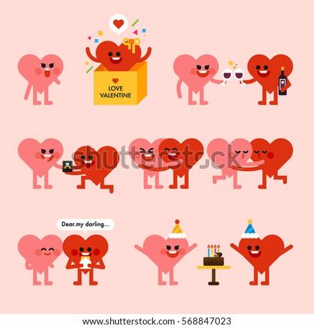 Großartig Valentineu0027s Day Heart Character Cute Couple Vector Illustration Flat Design