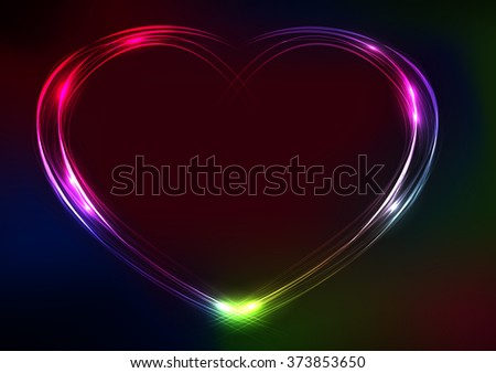 Valentine's day heart futuristic abstract space background. EPS10 vector illustration - stock vector