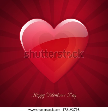 Valentine's Day heart poster vector card design. isolated from background.