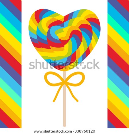 Valentine's Day Heart shaped candy lollipops with bow, colorful spiral candy cane with bright rainbow stripes. on stick with twisted design on white background with bright rainbow stripes. Vector - stock vector