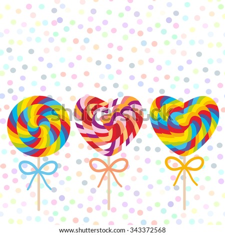 Valentine's Day Heart shaped colorful Set candy lollipops with bow, spiral candy cane. Candy on stick with twisted design on white abstract geometric retro polka dot background. Vector - stock vector