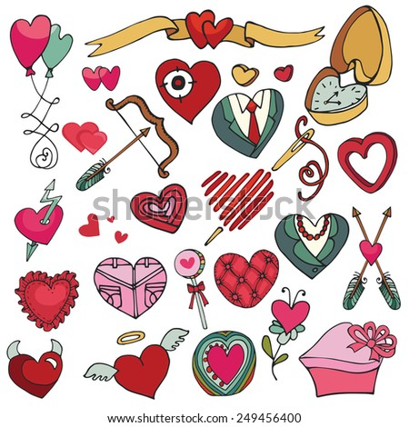 Valentine's day hearts icons big set.For wedding,love,romantic card,template.Flat elements collection.Cute Doodle hand drawing decor set.Vintage vector.Retro style