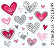 Valentine's Day Hearts / Love Sketchy Notebook Doodles Design Elements on Lined Sketchbook Paper Background- Vector Illustration - stock vector