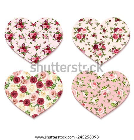 Valentine's day hearts with roses patterns. Vector eps-10. - stock vector