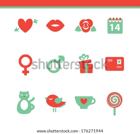 Valentine's day icon set - stock vector