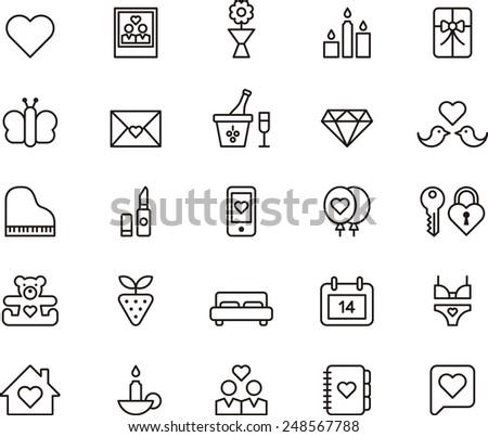 Valentine's Day icon set - stock vector