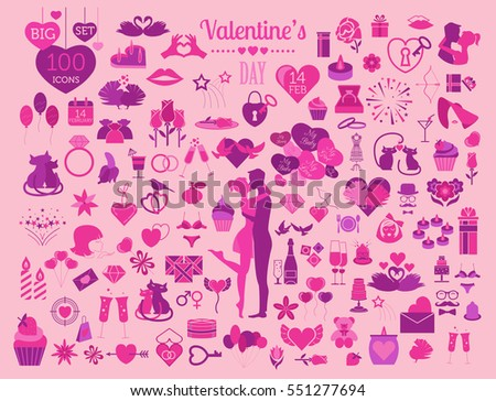 Valentine`s day icon set. Romantic design elements isolated on white. Vector illustration