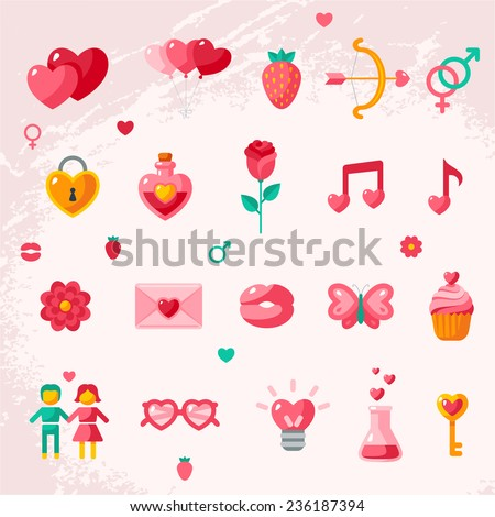 Valentine's day icons elements collection. Vector illustration. Love concept symbols. Cupid bow, gender sign, couple, sweet cupcake, love letter, love poison. - stock vector