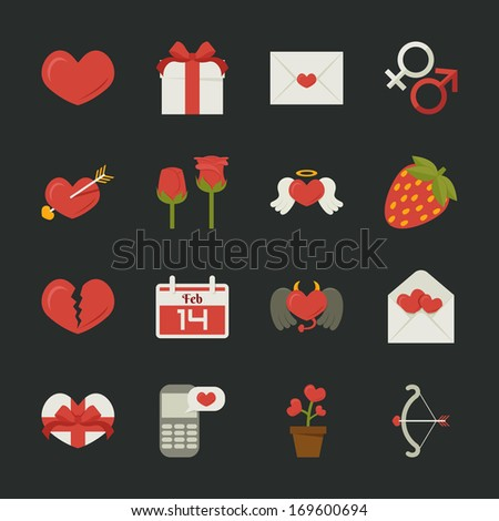 Valentine's day icons, love symbols  , flat design , eps10 vector format - stock vector