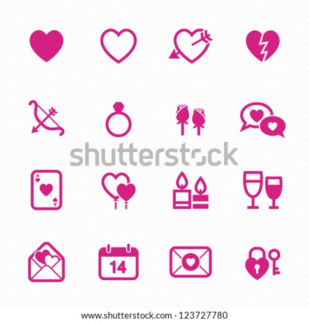 Valentine's Day Icons with White Background - stock vector