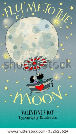 Valentine's Day Illustration - Cartoon illustration with cute couple flying to the Moon in a properly equipped bath tub. Hand drawn whimsical style illustration - stock vector