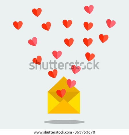 Valentine's day illustration. Receiving or sending love emails and sms for valentines day, long distance relationship. Flat design, vector illustration - stock vector