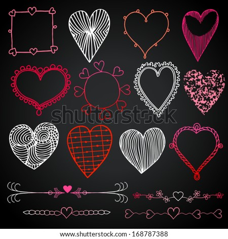 Valentine's day in chalkboard style, red, white and pink beautiful drawn hearts, love symbols, retro set of heart icons, photo frames, grunge vector layouts for creative festive design and decoration - stock vector