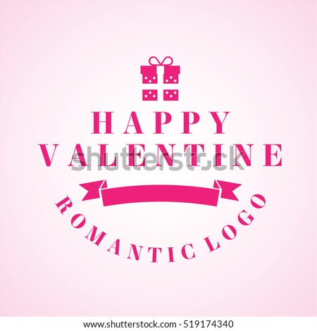 Valentines Day Label Pink Colour Emblem Stock Vector