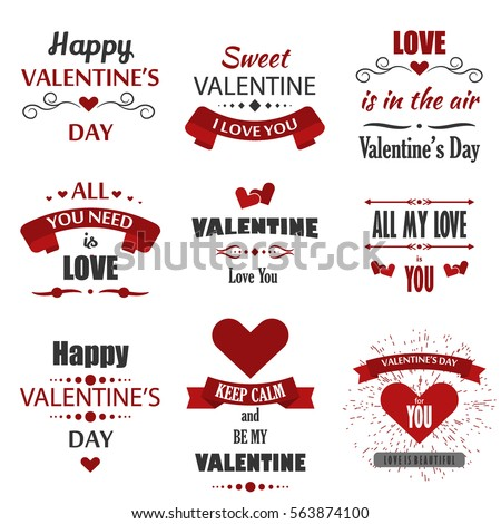 valentines day labels badges heart icons stock vector royalty free