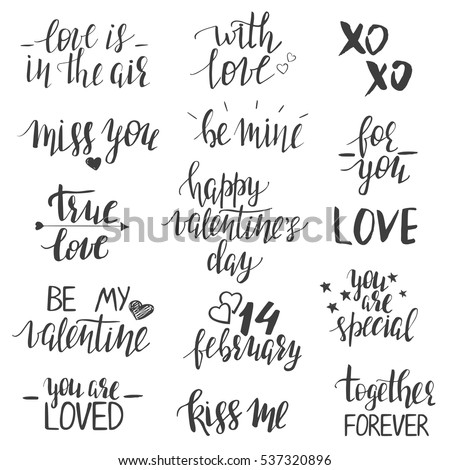 valentines day lettering templates modern hand stock vector, Ideas