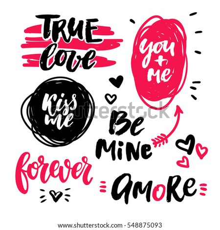 Valentine S Day Lettering Vector Set. Isolated Handwriting Calligraphy Love  Quotes And Inscriptions Doodle Drawings