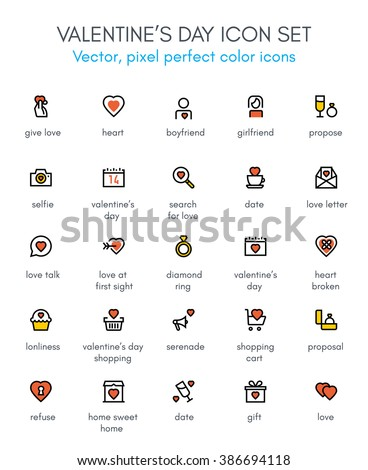 Valentine's day line icon set. Pixel perfect fully editable vector icon suitable for websites, info graphics and print media. - stock vector