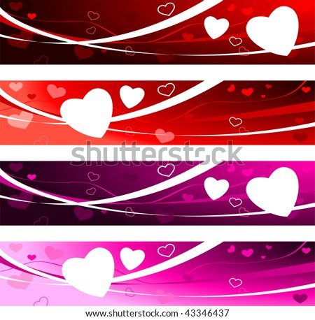 Valentine's day Love Banners Original Vector Illustration