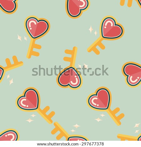 Valentine's Day lover key lock flat icon,eps10 seamless pattern background