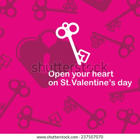 Valentine's Day lover lock and antique key flat design - stock vector