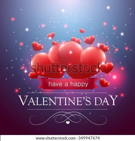 Valentine's day message, floating hearts blue background. - stock vector