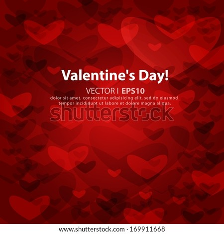 Valentine's day or Wedding abstract red background with hearts. Vector EPS 10 illustration. - stock vector