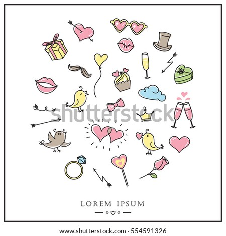 Valentines Day Or Wedding Card Cute Romantic Design Love Symbols Sign Icons