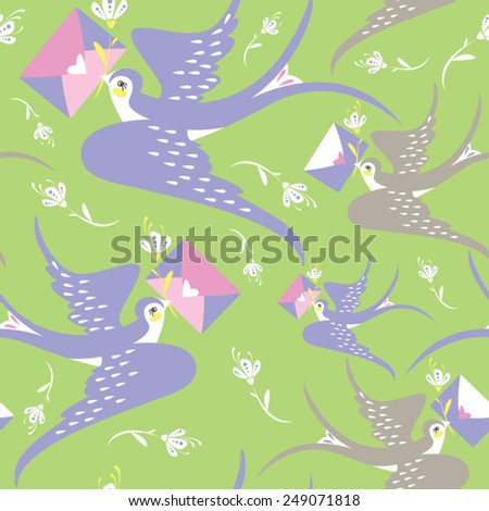 Valentine's day or wedding seamless pattern with stylized birds with love letter and flowers in vector.