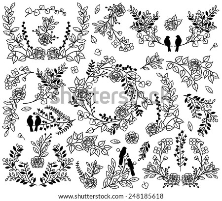 Valentine's Day or Wedding Themed Laurel and Floral Vector Collection - stock vector