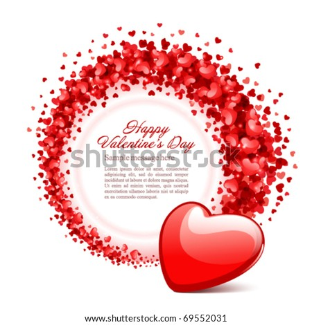 Valentine's day or Wedding vector background card with hearts