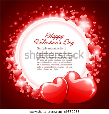 Valentine's day or Wedding vector background card with two hearts