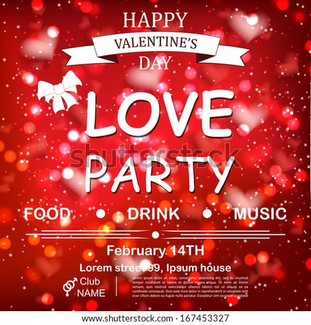 Toll Valentine`s Day Party Design Template