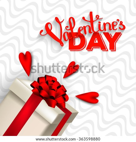 Valentine's Day Party Invitation with gift box snow and heart - stock vector