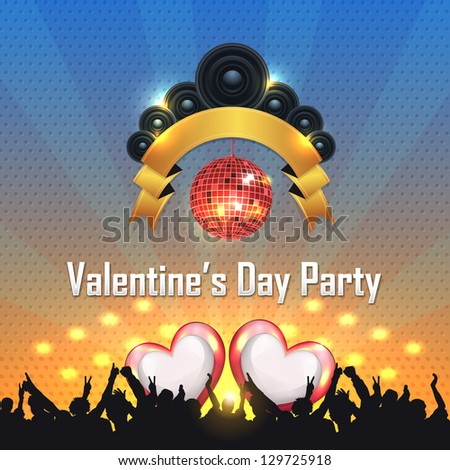Valentine's Day Party Magazine Cover Vector Template - stock vector