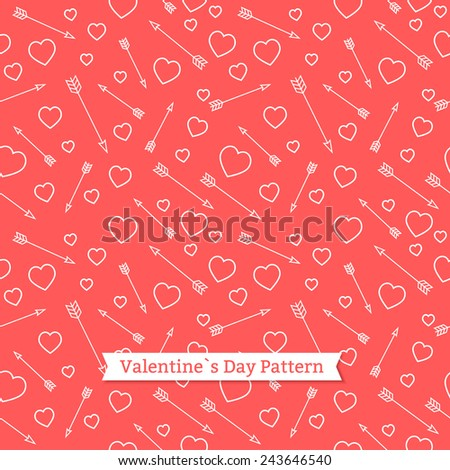 Valentine's day pattern of arrows and hearts.